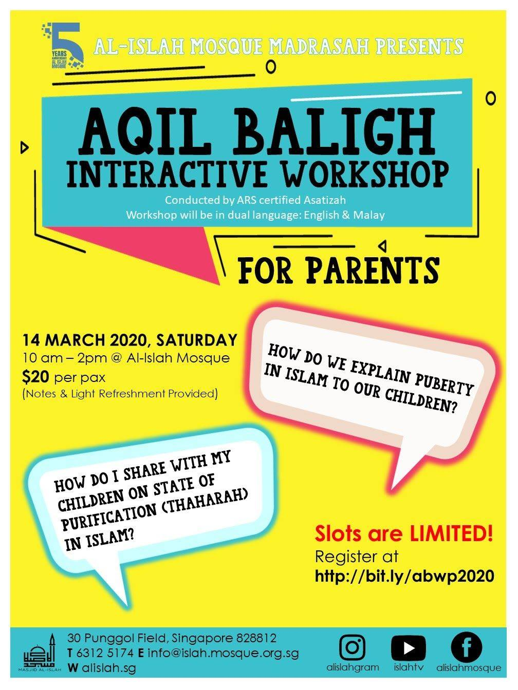 WORKSHOP FOR PARENTS AQIL BALIGH - AN INTERACTIVE WORKSHOP FOR PARENTS!